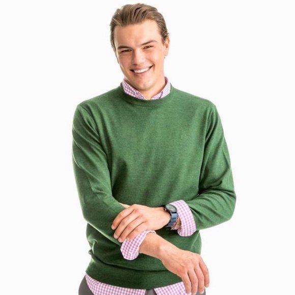 4171 Men's Southern Tide Merino Crewneck Sweater Myrtle Green