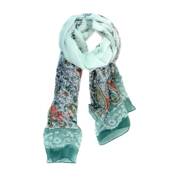 Mint Green French Lace Trim Lightweight Scarf