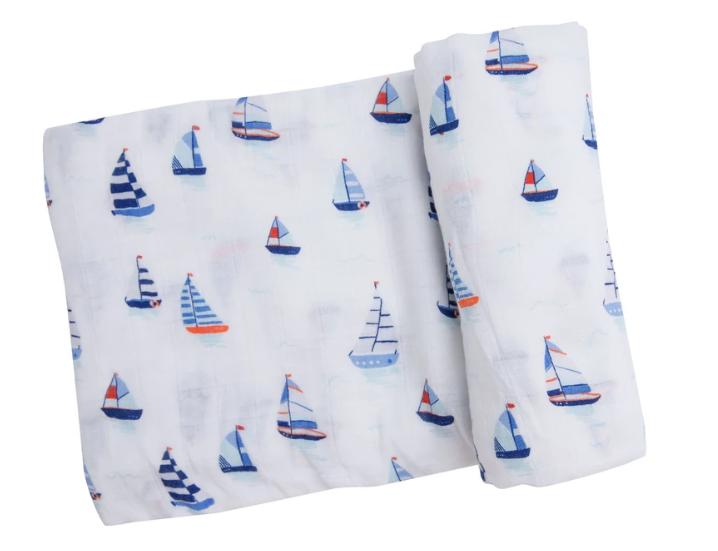 Nautical Boats Swaddle Blanket by Angel Dear