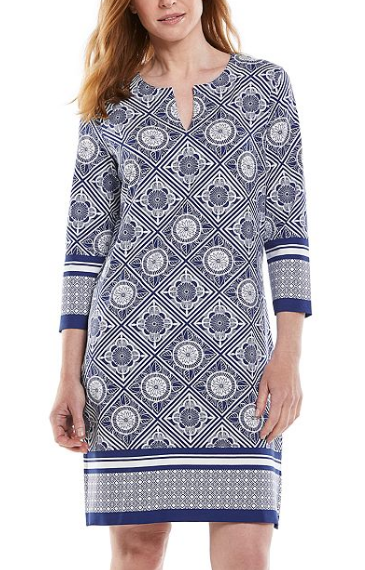 Oceanside Tunic Dress in Sapphire/White by Coolibar