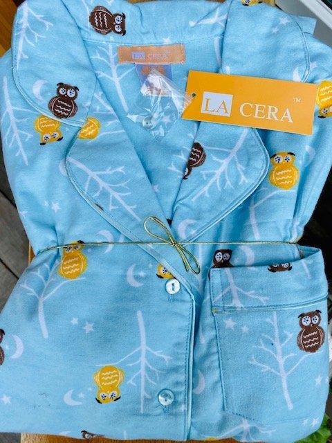 W's Flannel Owl Pajama Set by La Cera