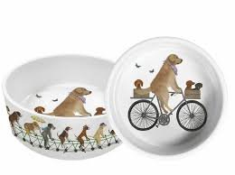 Pedaling Pups 8 Ceramic Pet Bowl