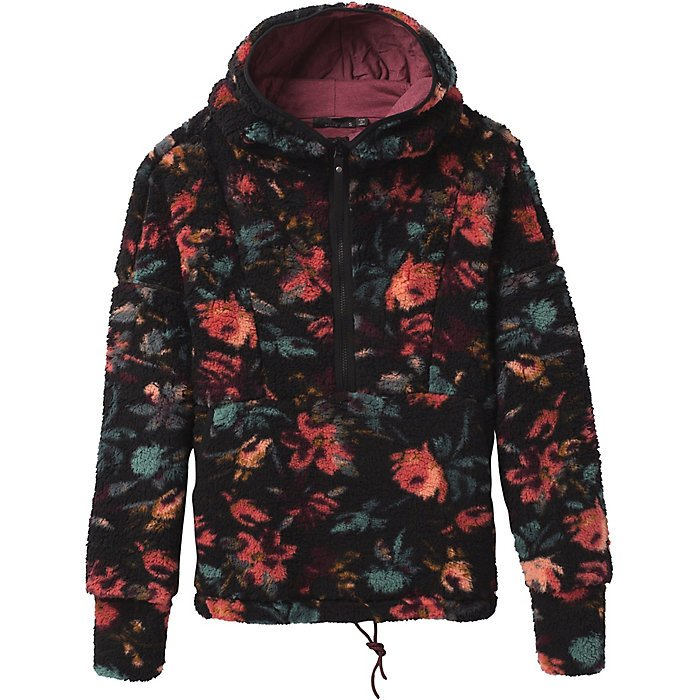 W's Prana Polar Escape Half Zip in Black Fleur