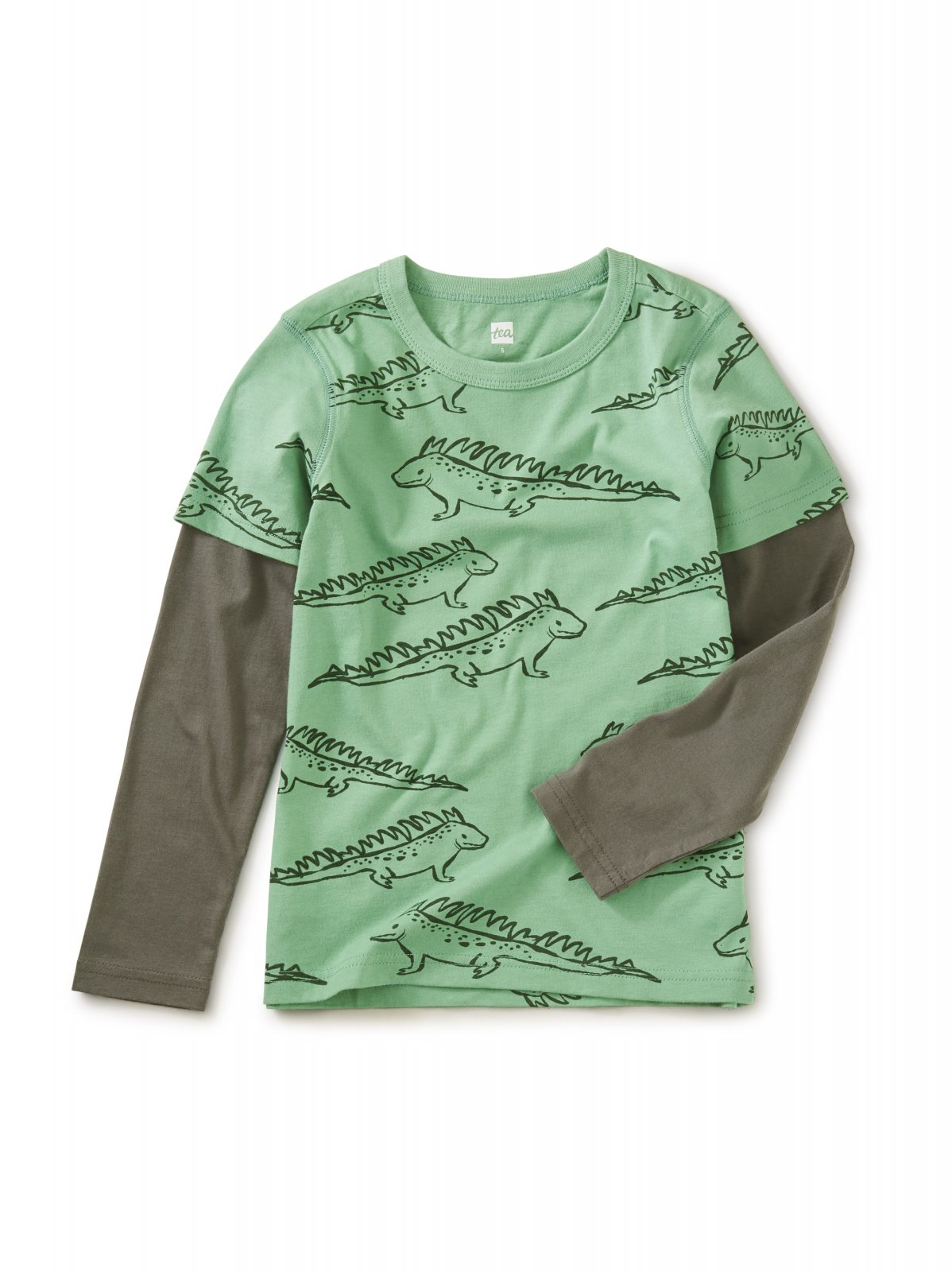 Printed Layered Long Sleeve Tee in Iguana Print by Tea Collection