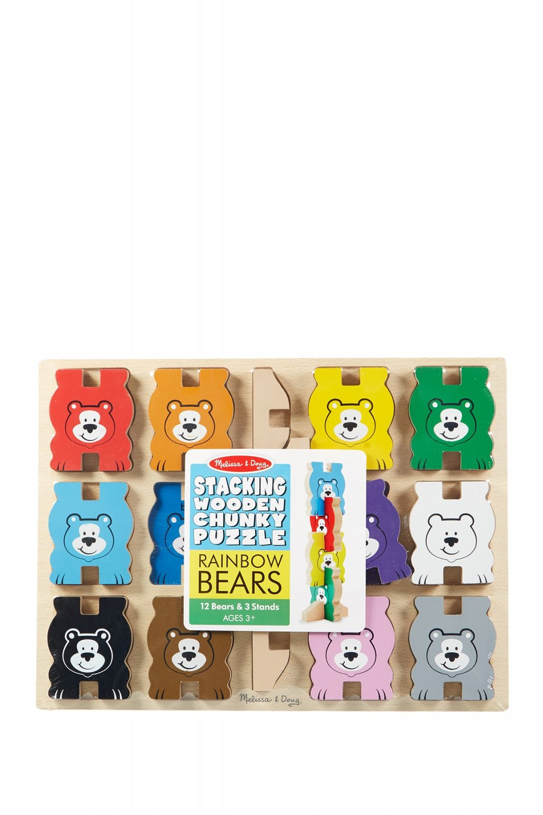 Rainbow Bears Stacking Wooden Chunky Puzzle