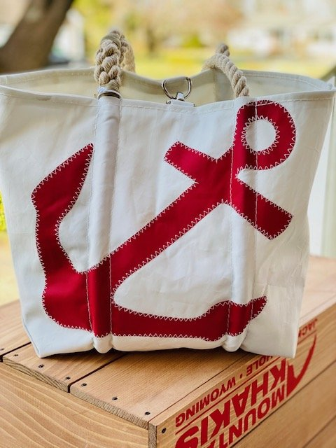 SeaBags Medium Tote with Clasp White Red Anchor