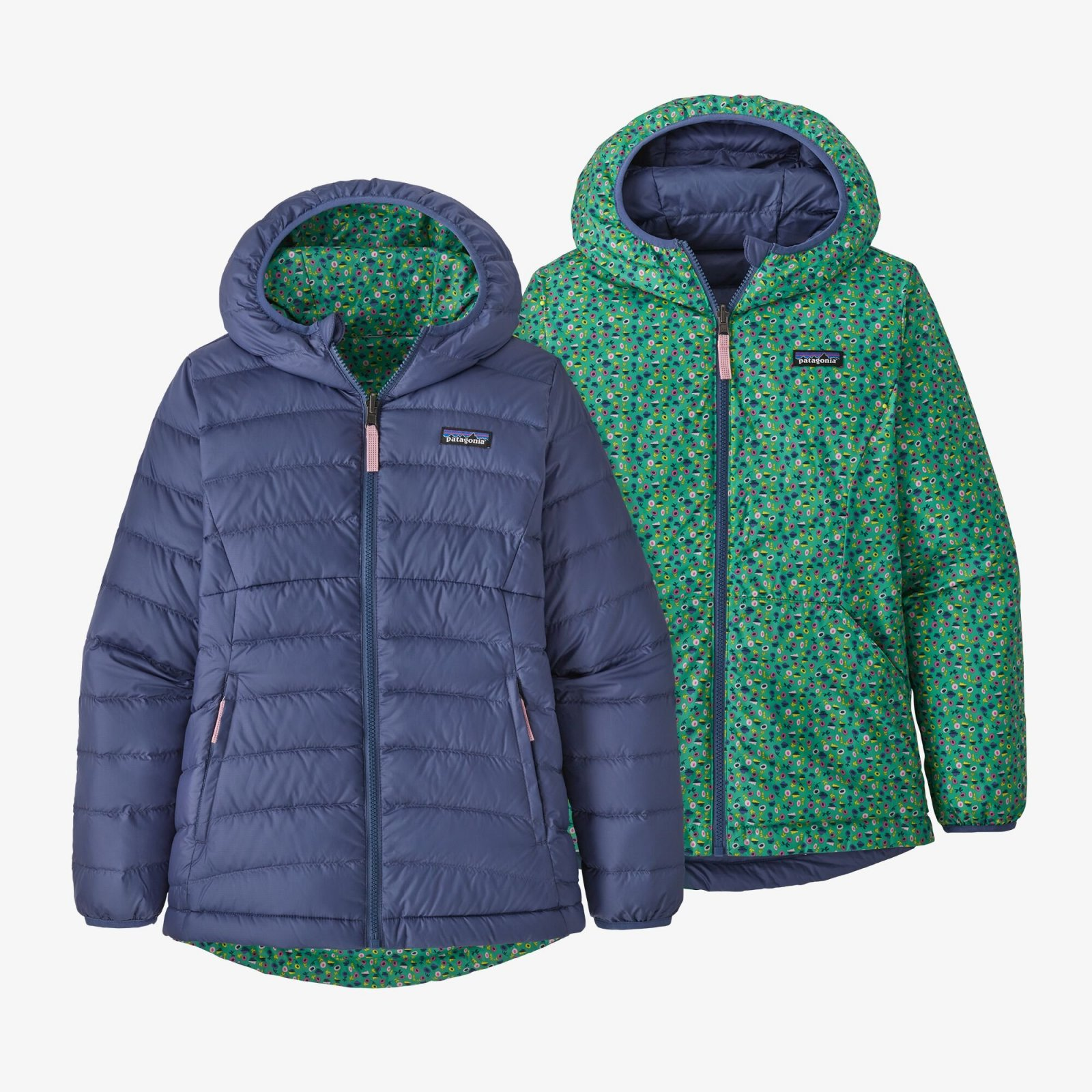 Patagonia Girl's Reversible Down Sweater Hoody in Current Blue