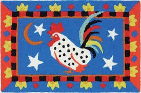 Jellybean Washable Rug - Rooster on Blue SALE