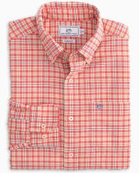 5352 Southern Tide Plaid Sportshirt Rouge Red