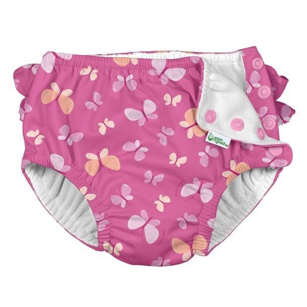 Ruffle Snap Reusable Absorbent Swimsuit Diaper - Pink Buterflies
