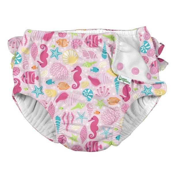 Ruffle Snap Reusable Absorbent Swimsuit Diaper - Pink Sealife