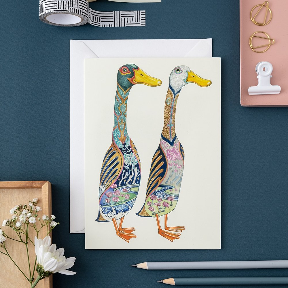 Runner Ducks Watercolor Card - Blank Inside