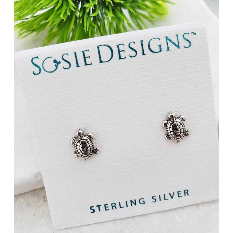 Sterling Silver Sea Turtle Earrings by Sosie Designs #1916