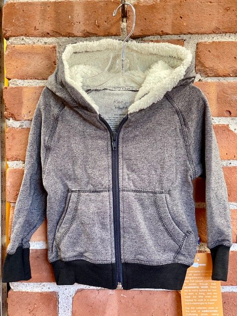 Baby Fleece Zip Front Sherpa-Lined Hoodie - Grey Heather