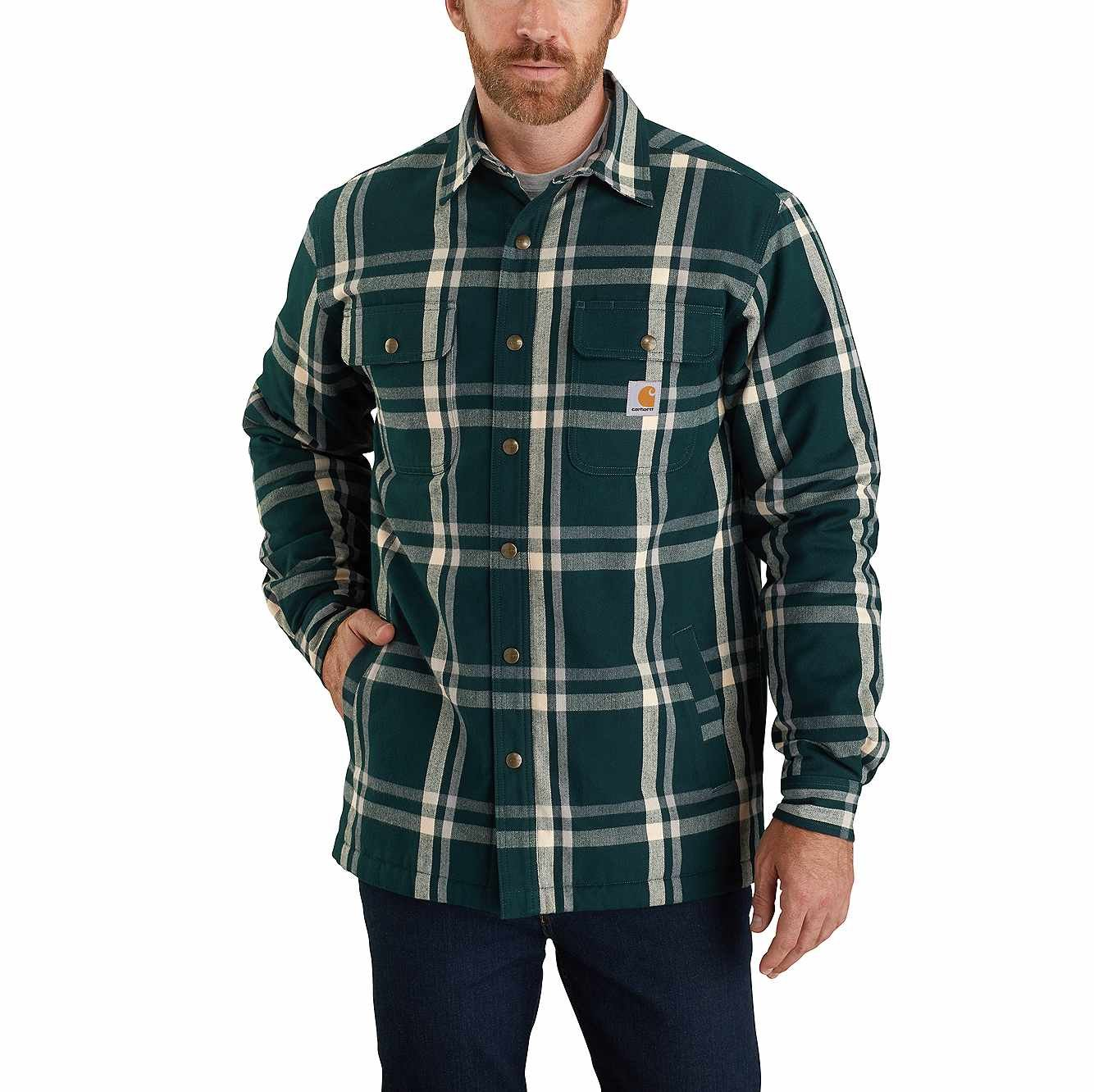M's Carhartt Sherpa Lined Snap Front Plaid Shirt Jac 104452 Teal