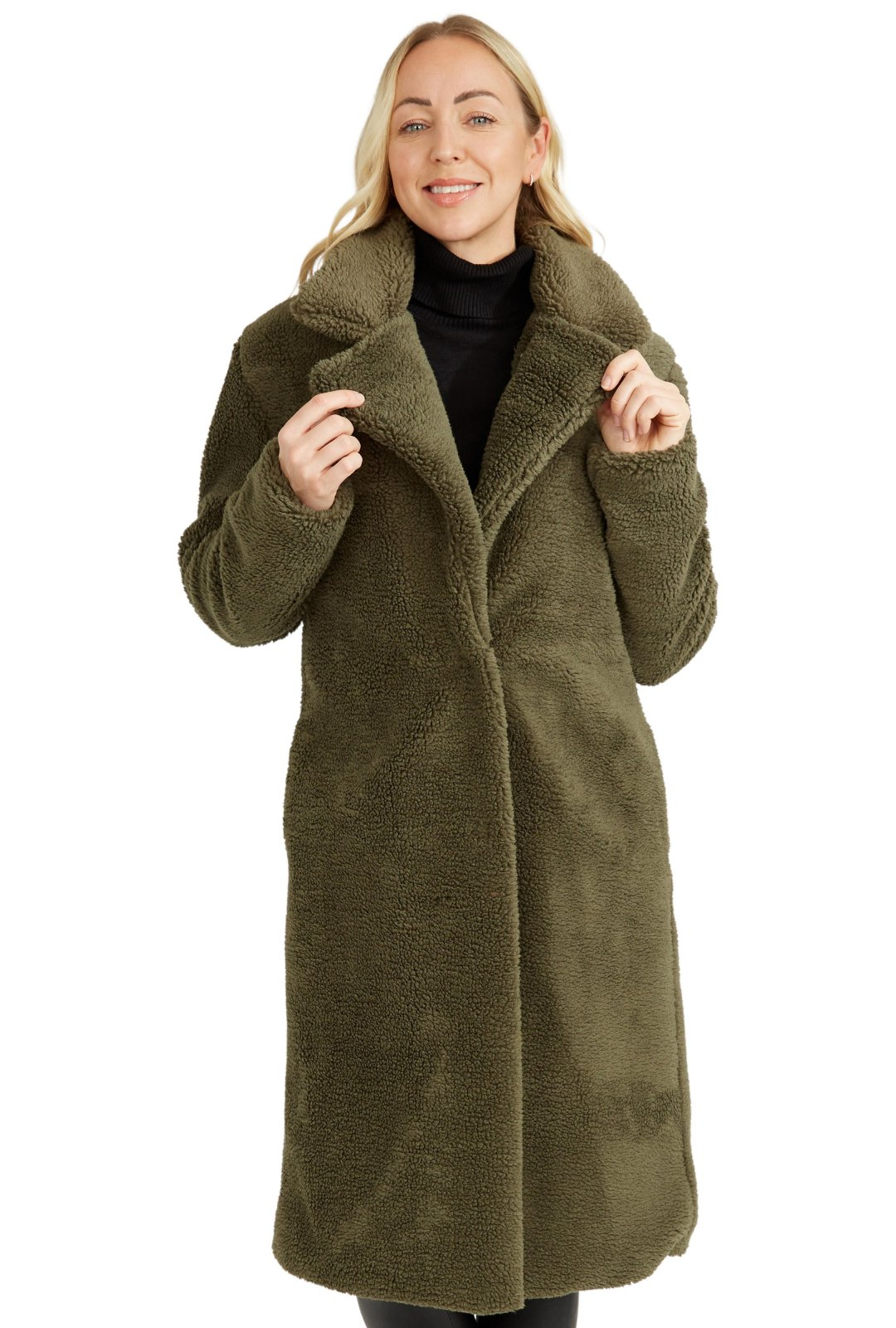 Lined Teddy Sloane Long Coat in Olive 7084 by Baciano
