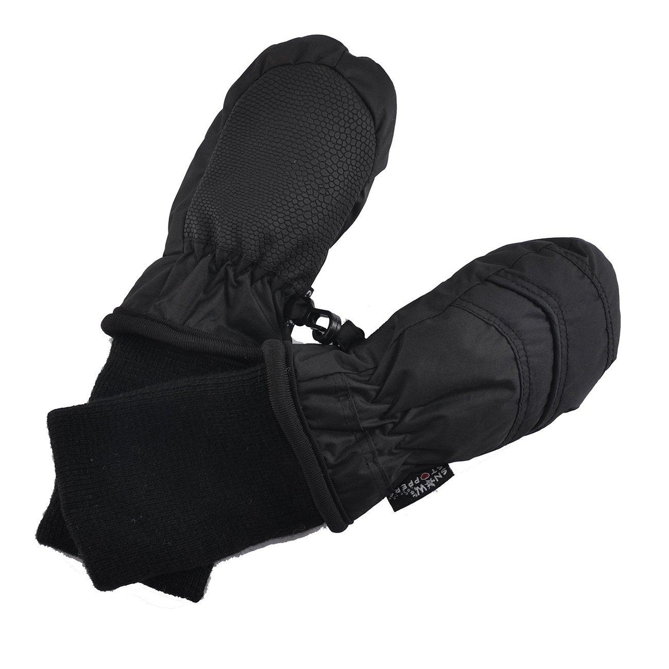 Kids Nylon Waterproof Mittens in Black