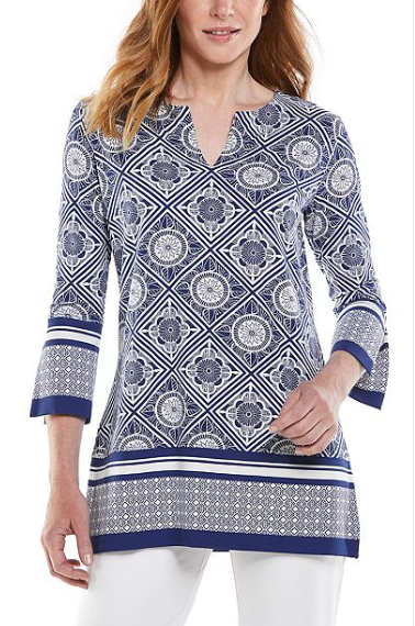 Coolibar St Lucia Tunic Top in Sapphire/White