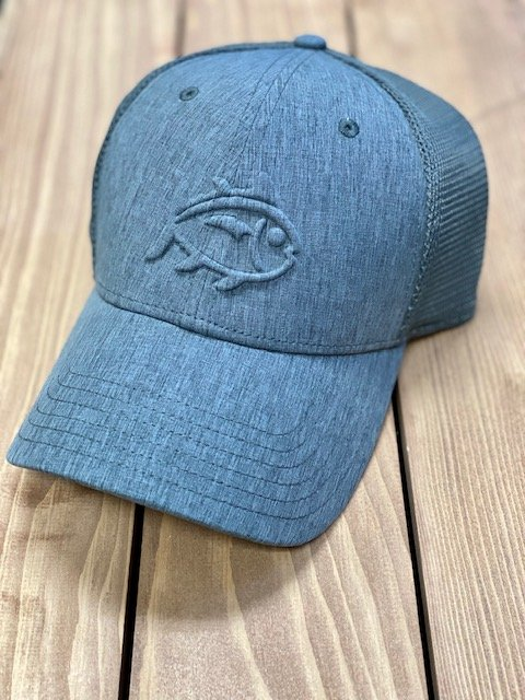 Southern Tide Skipjack Stamp Performance Trucker Hat Charcoal Heather