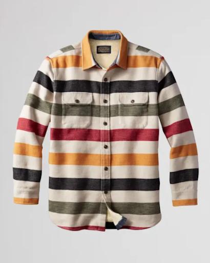 M's Pendleton Strip Cotton Sherpa-Lined Shirt Jacket - Glacier Stripe