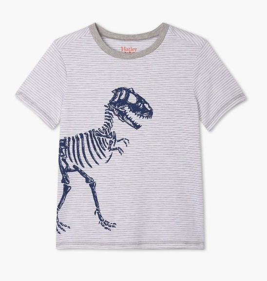 Hatley Boys T Rex Graphic Tee Grey Stripe
