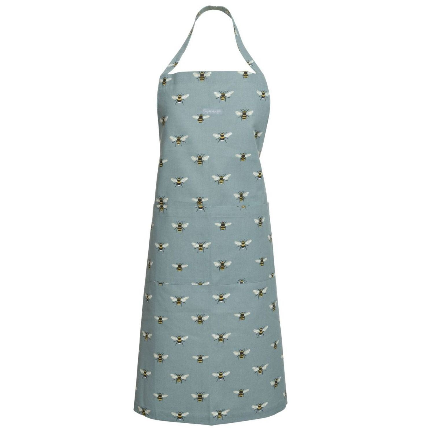 Washable Adult Apron in Teal Bee Print by Sophie Allport