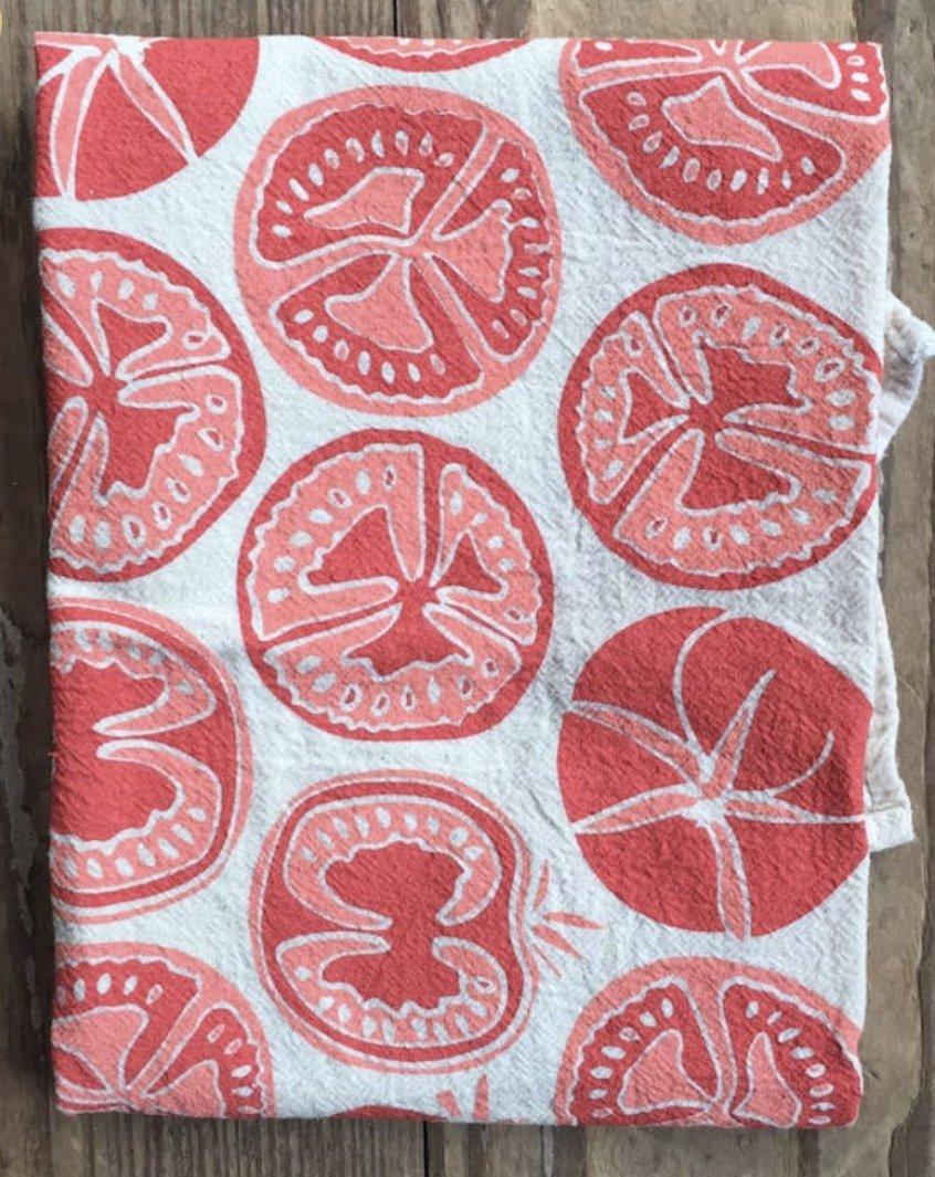 Organic Flour Sack Tea Towel - Vermillion Tomatoes