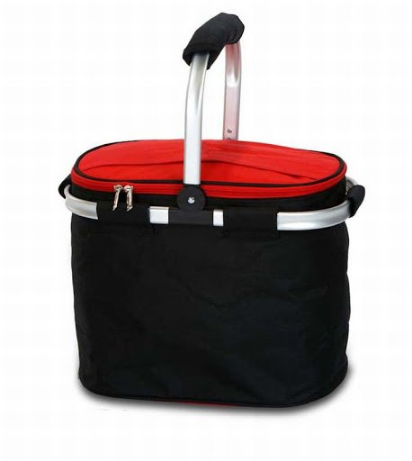 Collapsible Insulated Picnic Tote - Black/Red