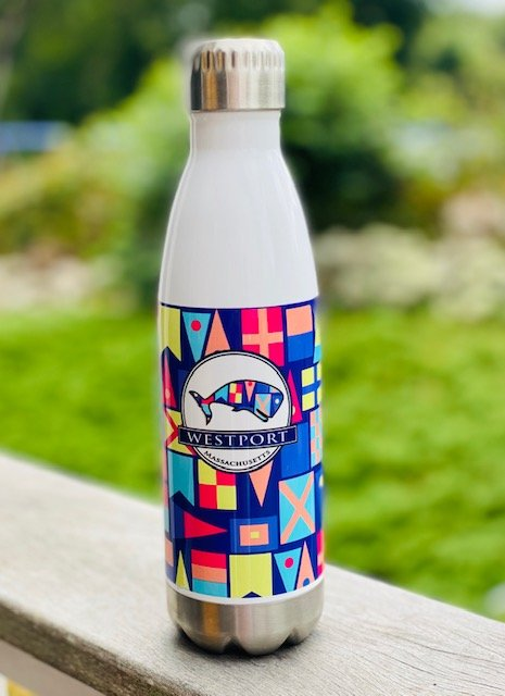 17oz Insulated Westport MA Water Bottle - Whale Flags