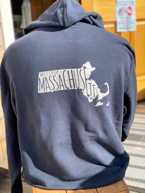 Adult Westport MA State Hoody Sweatshirt - Navy Blue