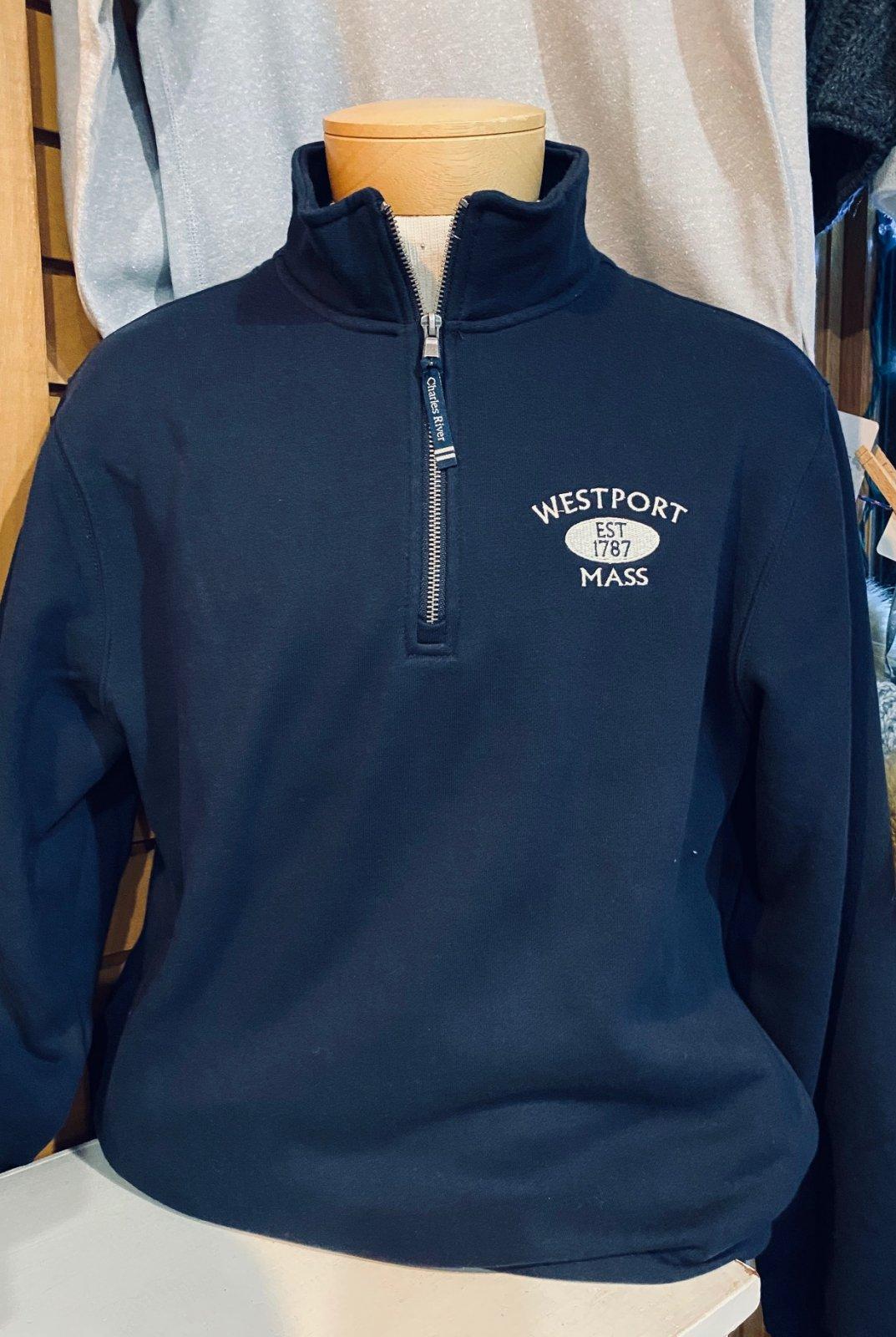 Westport Embroidered 1/4 Zip Sweatshirt in Navy
