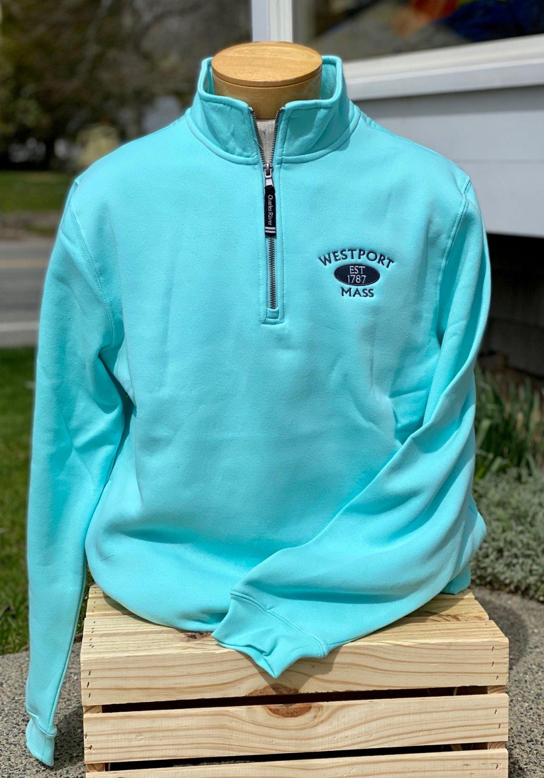 Embroidered Westport MA 1/4 Zip Sweatshirt in Aqua