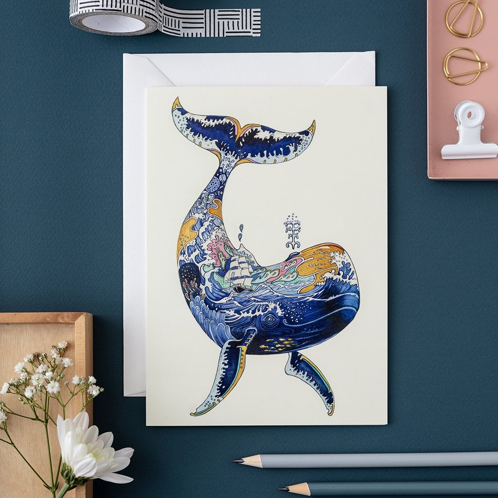 Whale Watercolor Card - Blank Inside