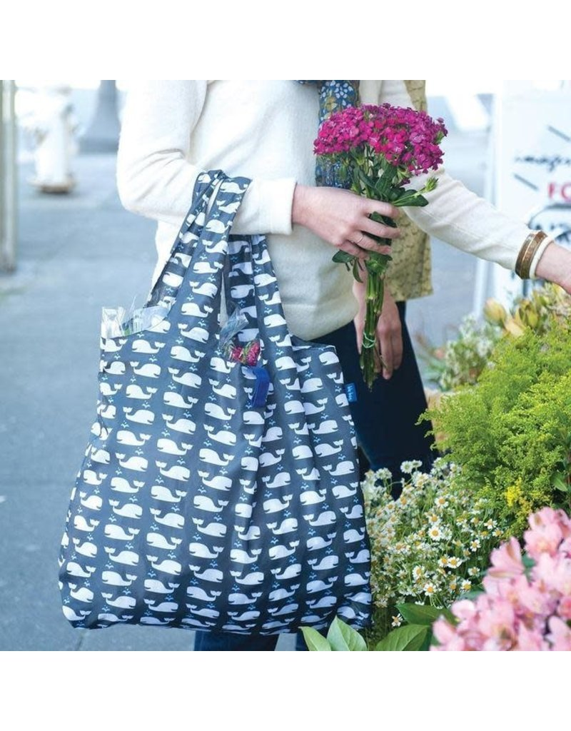 BluBag Reusable Shopping Bag - Whales Grey