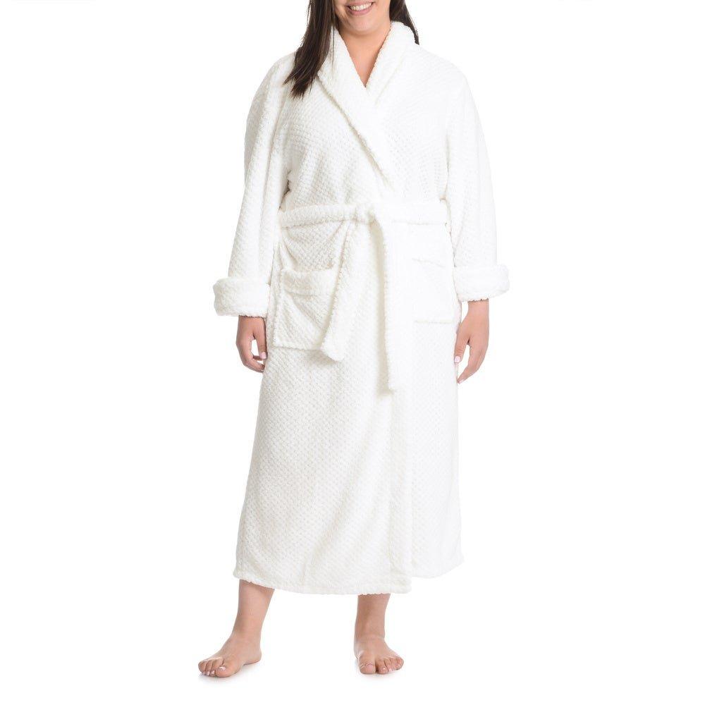 Silky Soft Checker Plush Robe - White