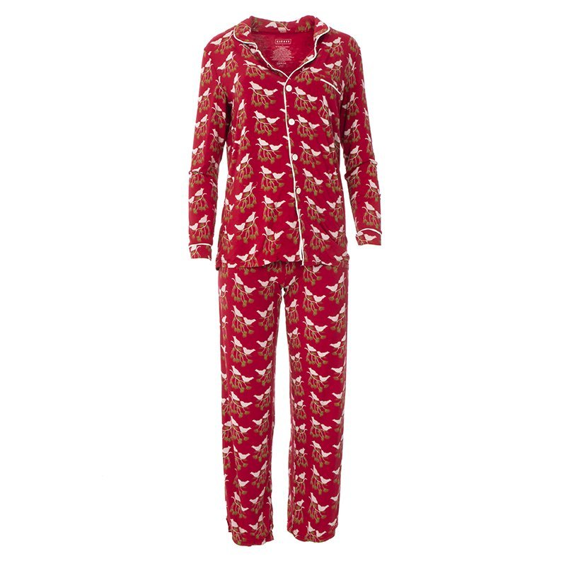 W's Kickee Pants Pajama Set-Crimson Kissing Birds