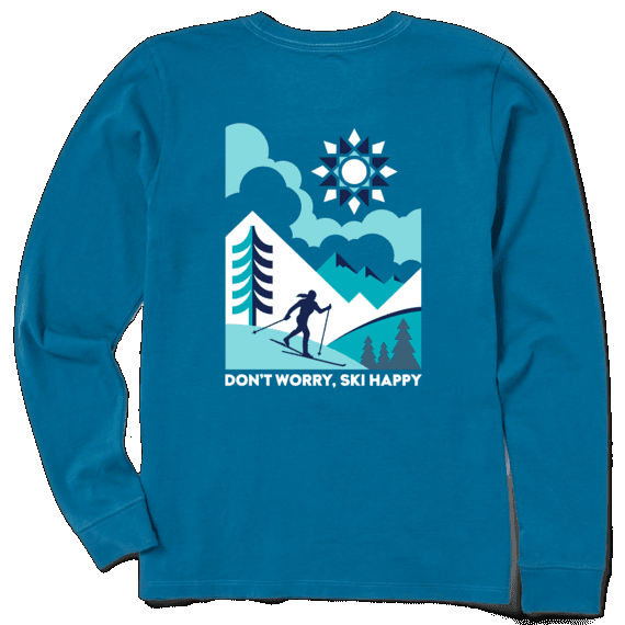 W's Crusher Long Sleeve Ski Happy Scenic in Persian Blue  by Life is Good