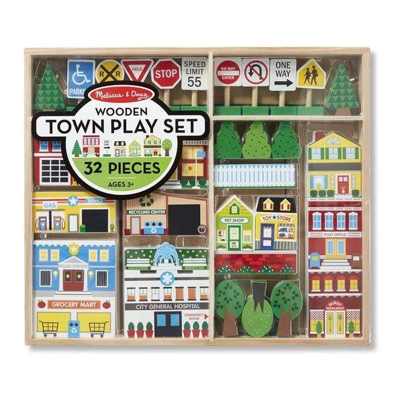 Wooden Town Play Set 32Pcs #4796 Melissa & Doug
