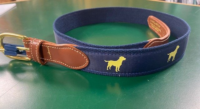Leather Tab Motif Belt - Yellow Labs on Navy Webbing