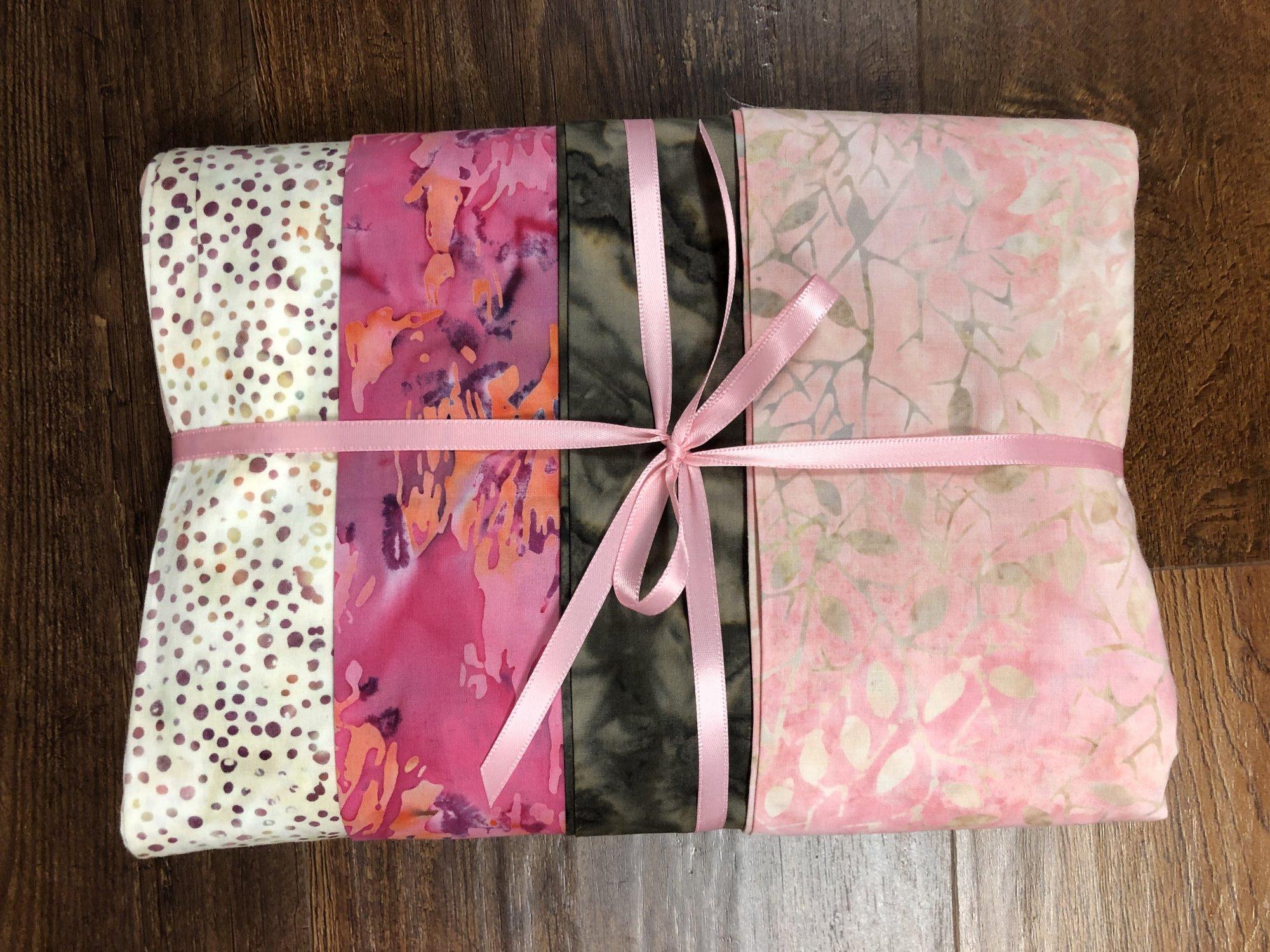 Batik Bundle - 4 one yard cuts - Pink