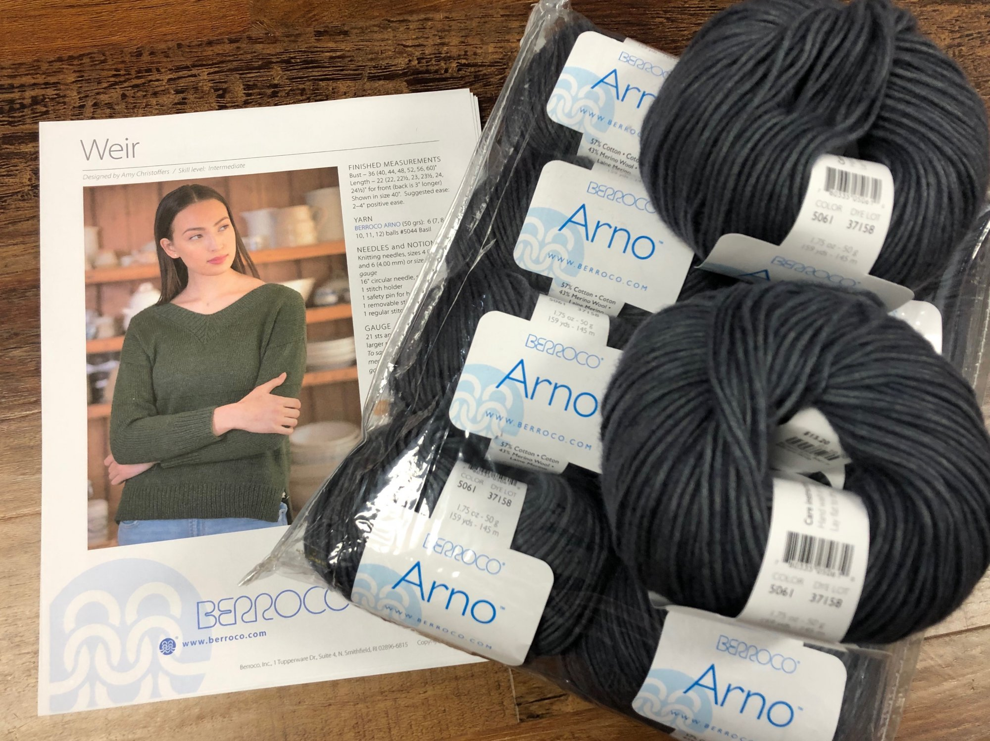 Weir Sweater Kit, with Berroco Arno Yarn - Pewter