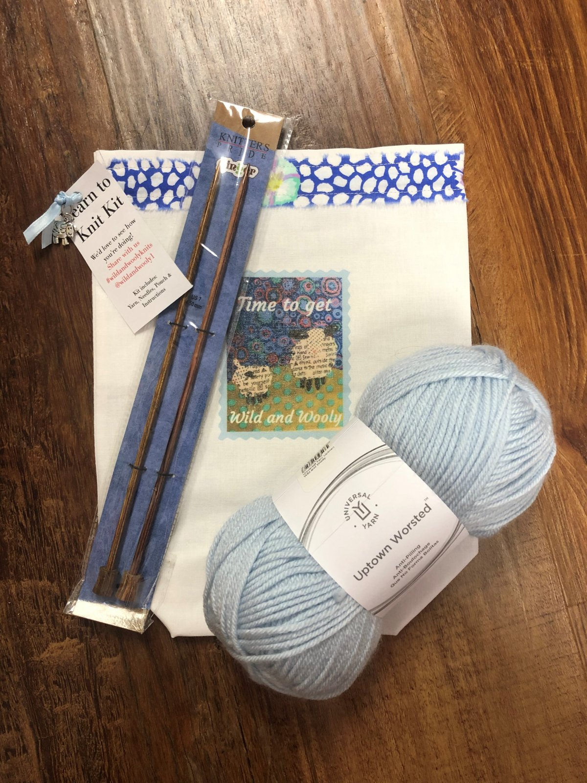 Learn to Knit Kit Blue
