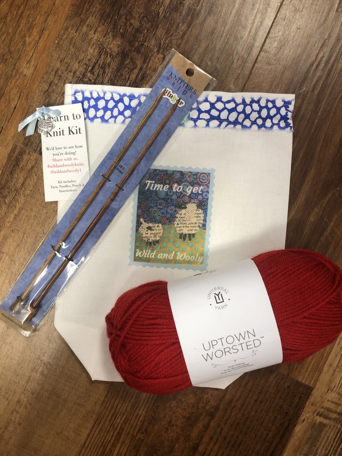Learn to Knit Kit Red