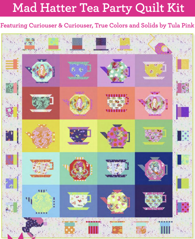 Mad Hatter Tea Party Quilt Kit, Tula Pink. Pre-order.