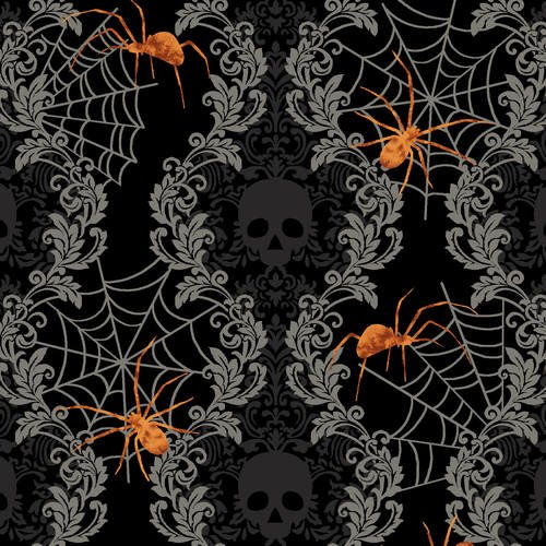 Spooky Night Black Damask Stripe