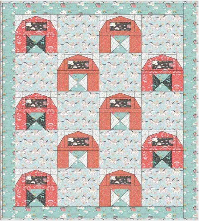 Down on the Farm Quilt Kit-Green Background