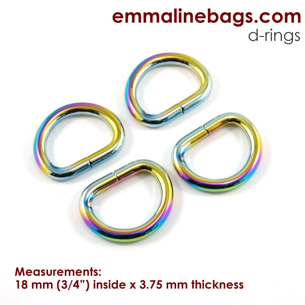D Rings (4 pack) 3/4 - Rainbow (thick)