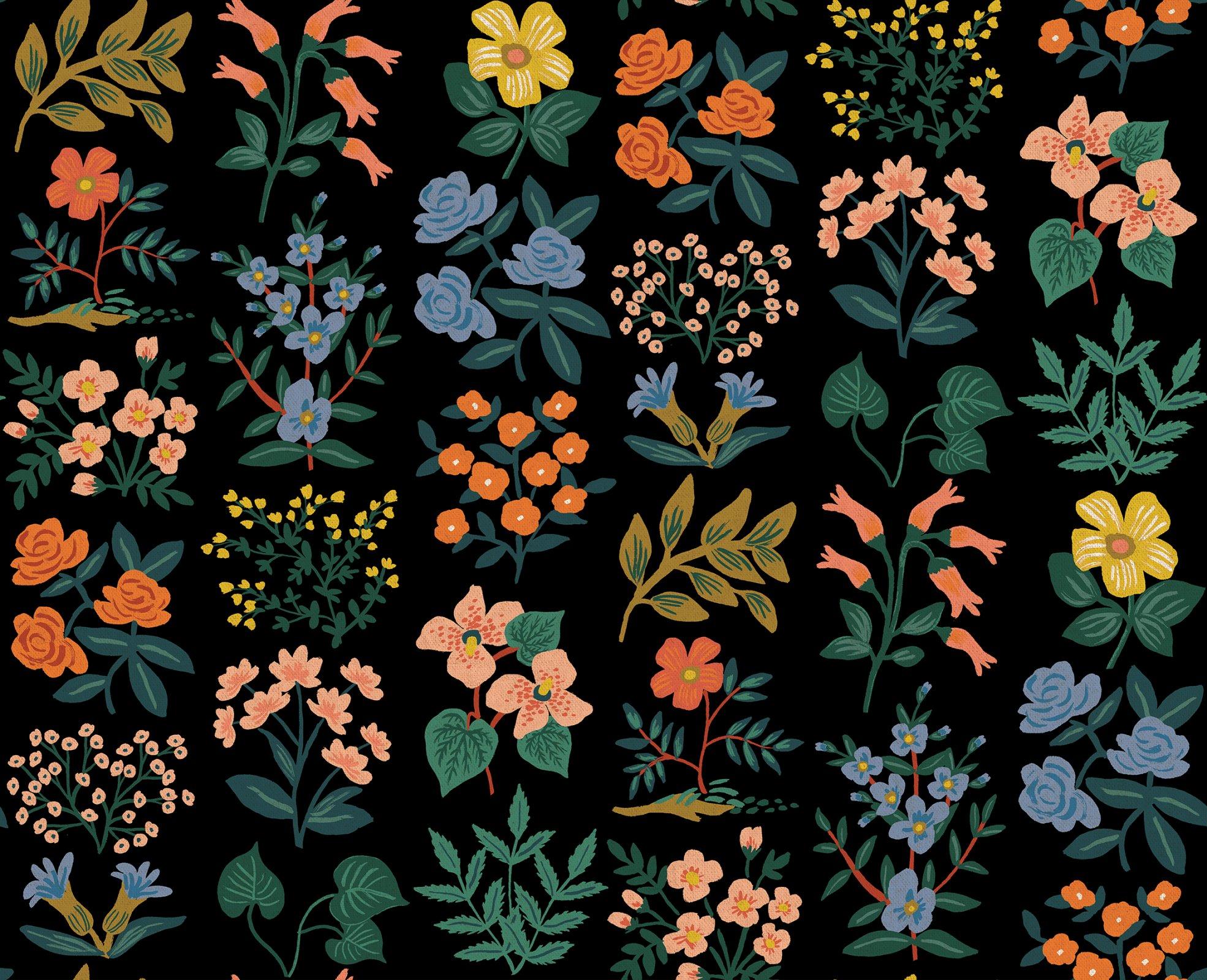 Meadow - Wildflower Field - Black Canvas