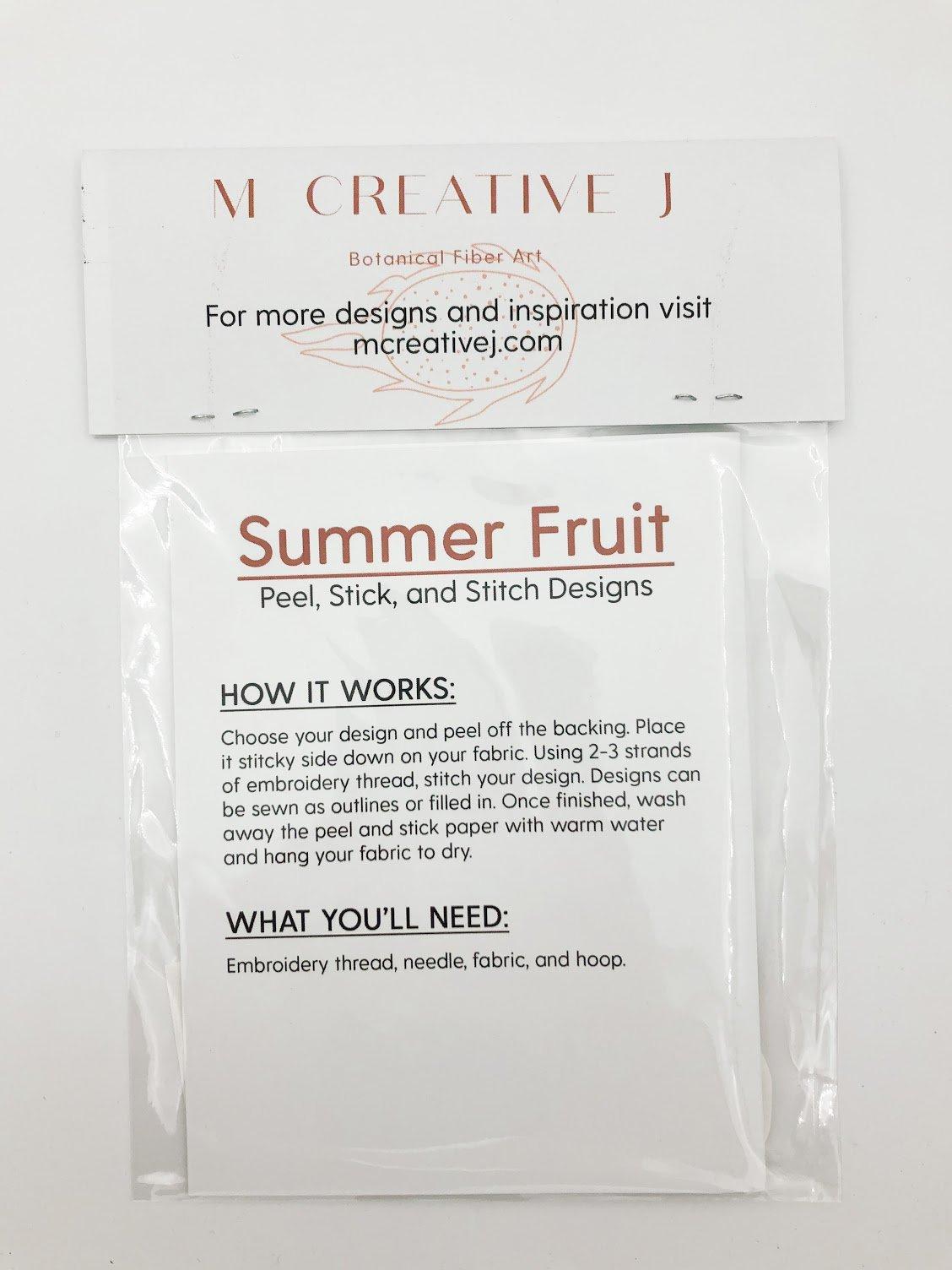 Peel Stick and Stitch Pattern - Fruit