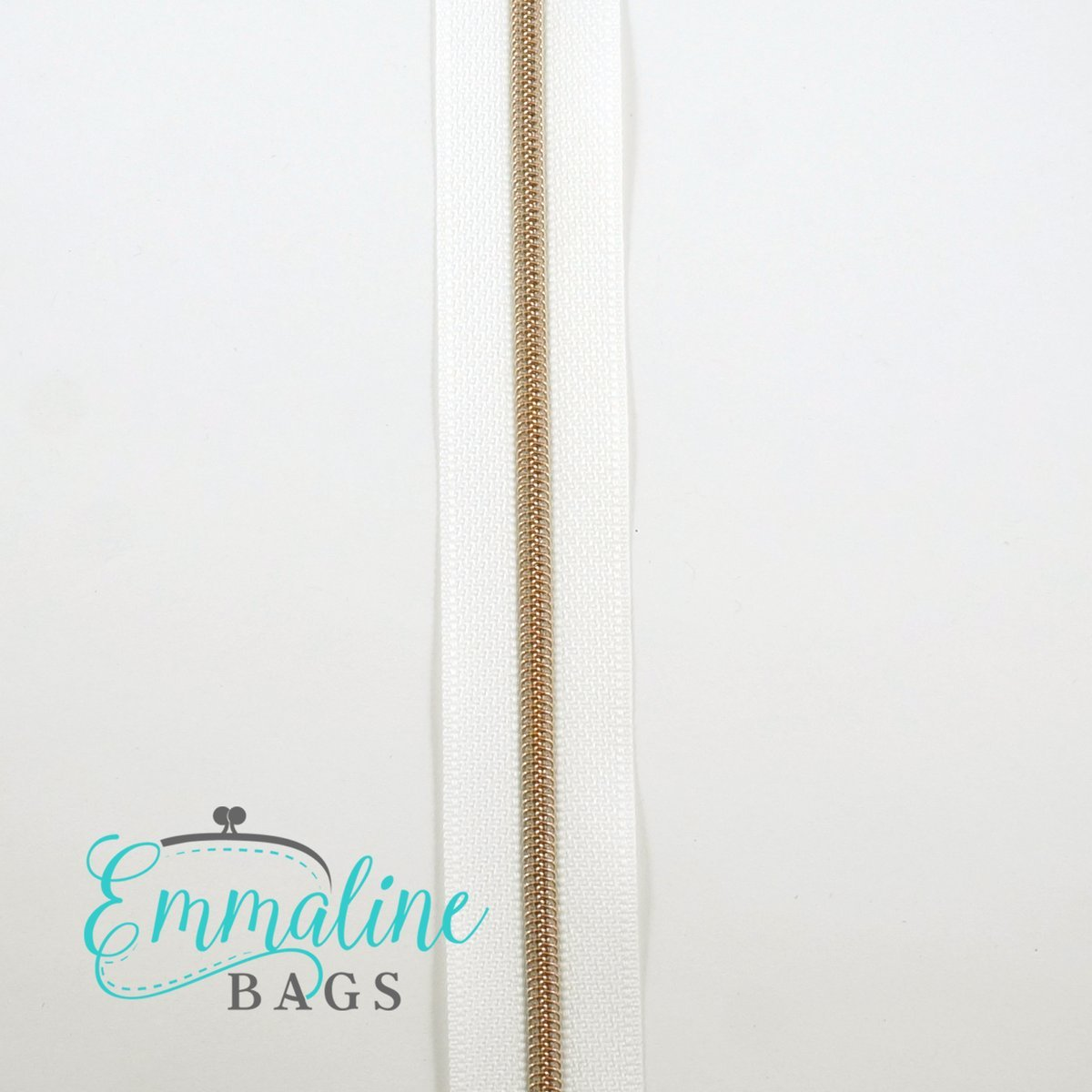 Zipper by the yard size 3 - White with rose gold